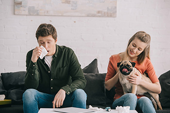 man, woman and pug dog sitting on couch with man holding a tissue to his nose